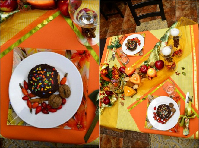 Thanksgiving table decorations -orange-tablecloth-organza-candles-apples