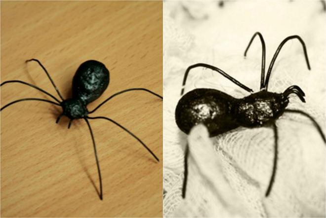 diy-halloween-spiders-papier-mache-black-paint