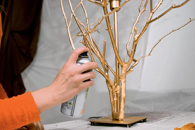 spray the base with branches with acrylic paint the tape will. Black Bedroom Furniture Sets. Home Design Ideas
