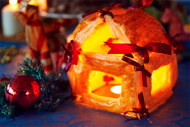 diy christmas decor candle holder made of puff pastry