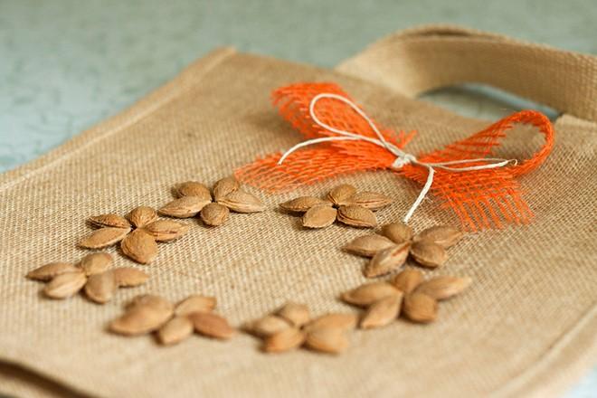 easy fall decorations handmade shopping bag fruit pits diy idea orange ribbon