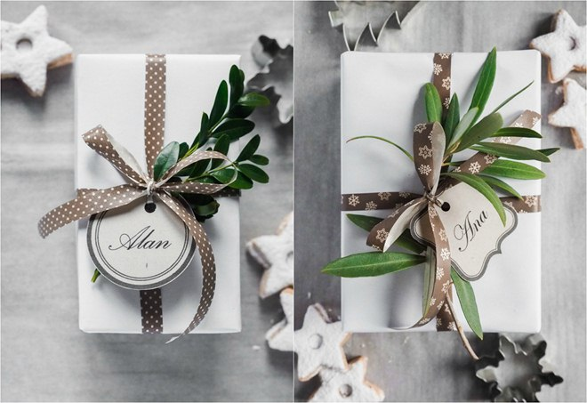 christmas-gift-wrapping-ideas-easy-white-paper-green-branches-eukalypt-boxwood