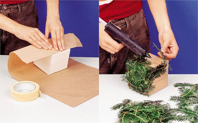 christmas-gift-wrapping-ideas-brown-packaging-paper-hot-glue-gun-evergreen-branches