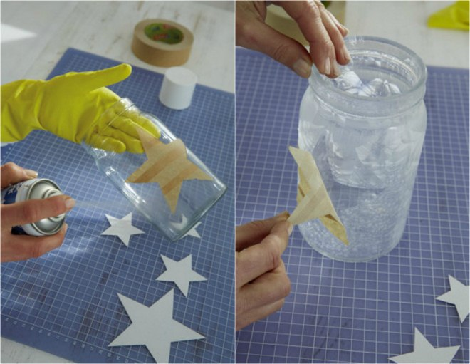 Diy Christmas Jar Crafts Painters Tape Star Stencil Frost Effect Spray