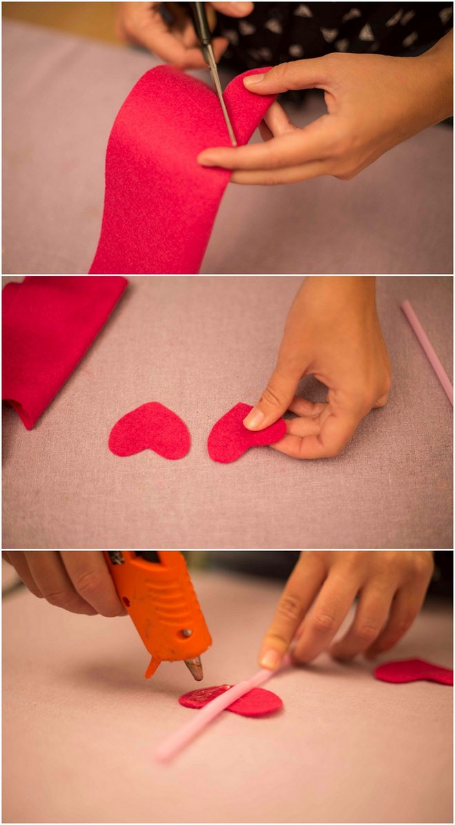 Image result for diy valentine felt party straws