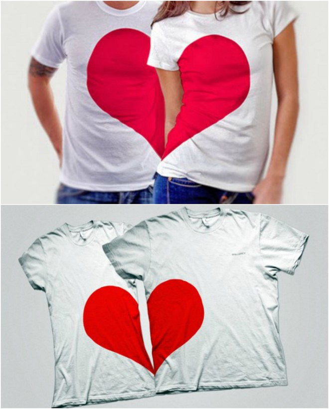DIY Valentine's gifts couple-t-shirts-heart-halves