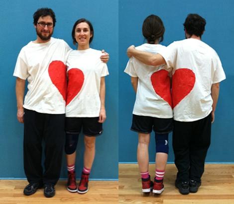 DIY Valentine's gifts couple-white-t-shirt-red-heart-fabric-paint