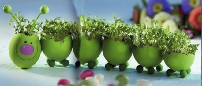 Easter egg crafts ideas-caterpillar-green-cress-plant