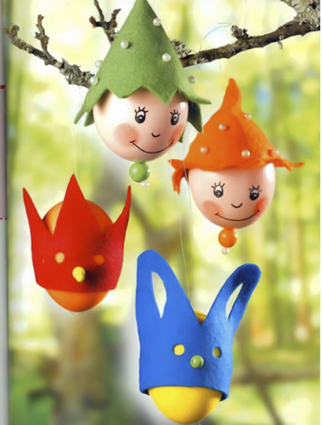 Easter-egg-craft-ideas-hanging-ornaments-felt-hats-bunny-mask