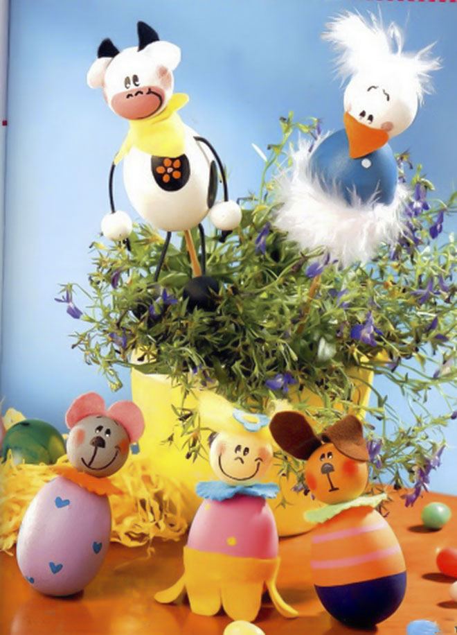 Easter-egg-craft-ideas-kids-sticks-plant-pot-cow-chicken-puppets
