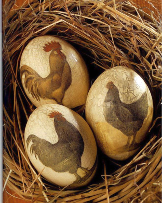 Easter-egg-decorating-paper-napkin-decoupage-hen-rooster