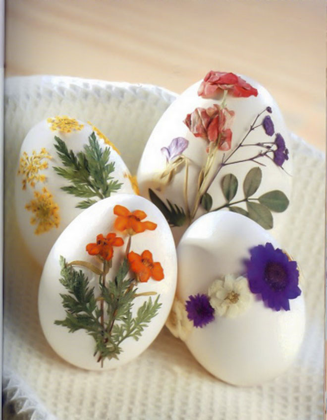 Easter-egg-decorating-pressed-flowers-glued-egg