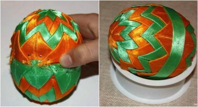 diy-easter-craft-ideas-styrofoam-egg-artichoke-ribbon-triangles-pins