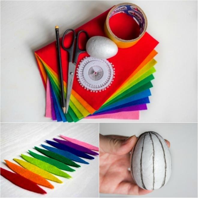 diy-easter-craft-ideas-styrofoam-egg-felt-pieces-rainbow-colors