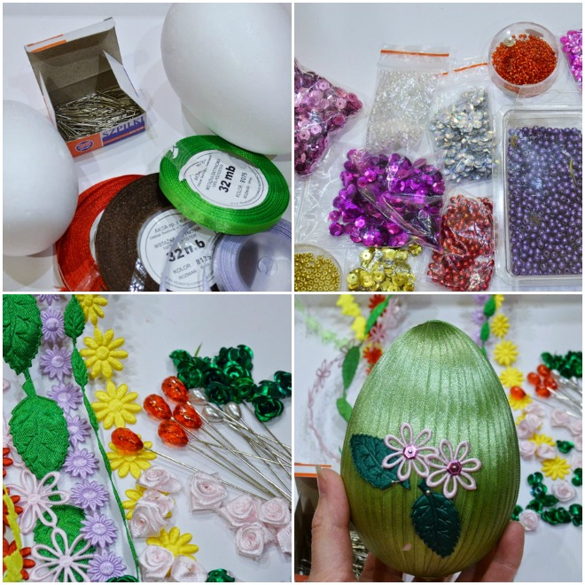 diy-easter-craft-ideas-styrofoam-egg-thin-ribbons-sequins-beads-decorations