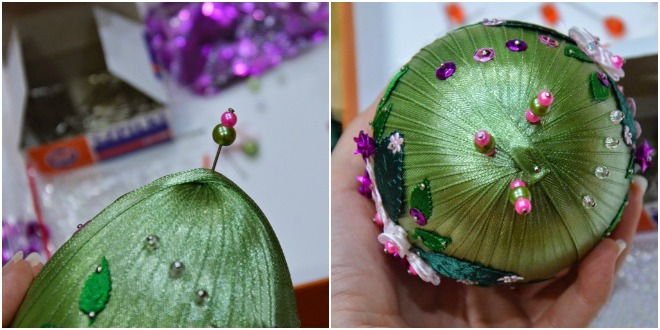 diy-easter-craft-ideas-styrofoam-egg-wrapped-ribbon-pins-beads-decorations