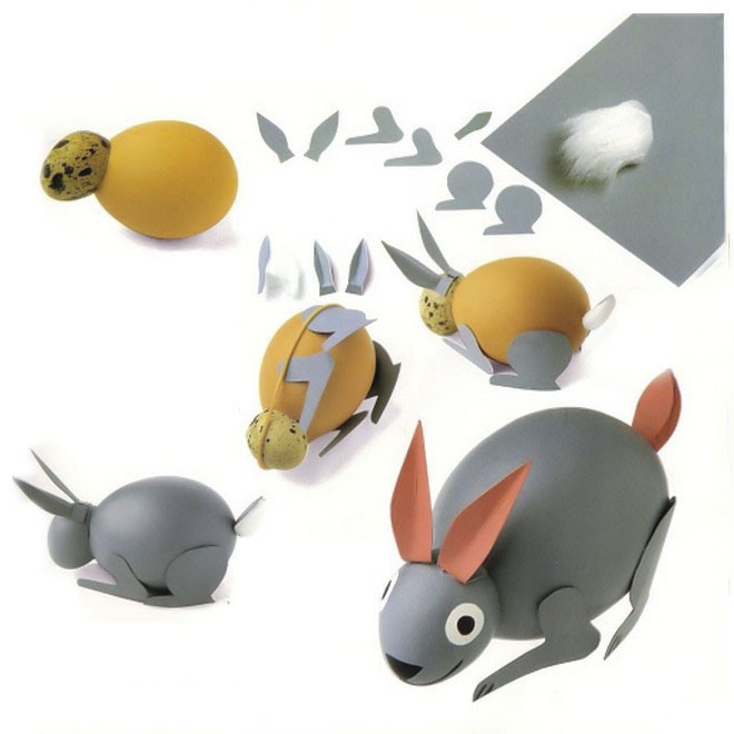 easter egg crafts bunny-grey-paint-paper-pieces