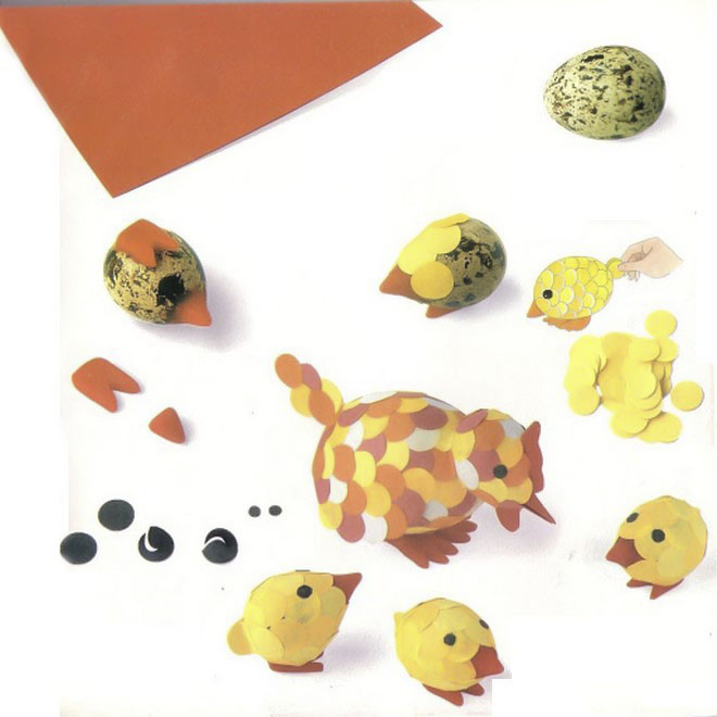easter-egg-crafts-hen-chicks-quail-eggs-paper-confetti