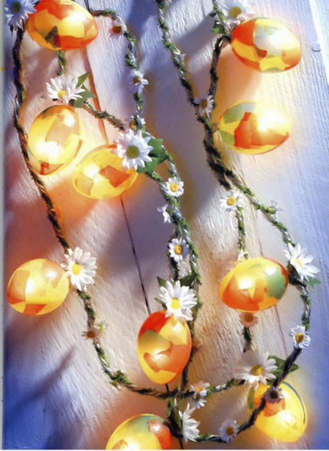 Easter egg crafts light-chains-bulbs-daisies-garland