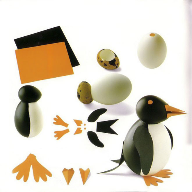 easter-egg-crafts-penguin-paper-quail-egg-head-black-paint