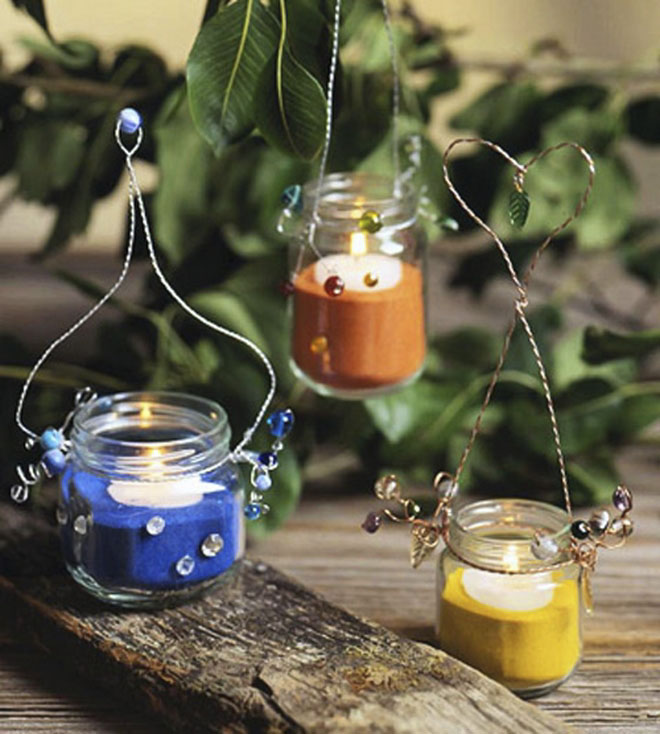diy garden decor ideas glass jars patio lanterns handmade candle holders