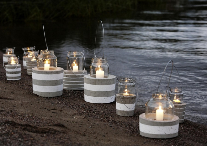 diy-garden-projects-candle-hurricanes-glass-jars-weights-white-stripes