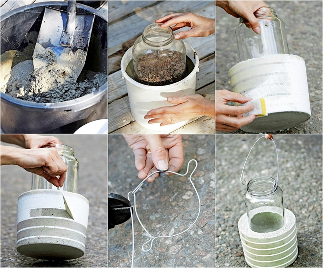 diy-garden-projects-concrete-weights-glass-candle-hurricanes-white-paint-stripes