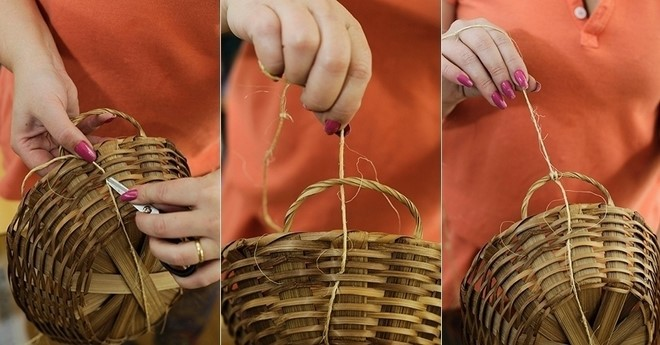 tying baskets each other diy vertical garden ideas
