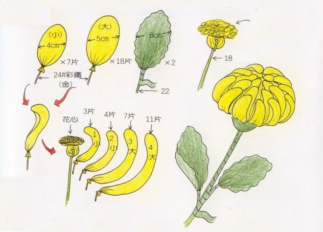 flower-craft-ideas-adults-yellow-asters-nylon-tights-instructions
