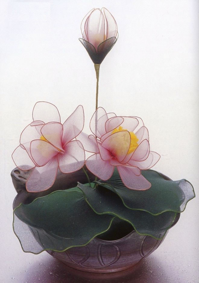 flower-craft-ideas-fake-artificial-water-lillies-flower-pot