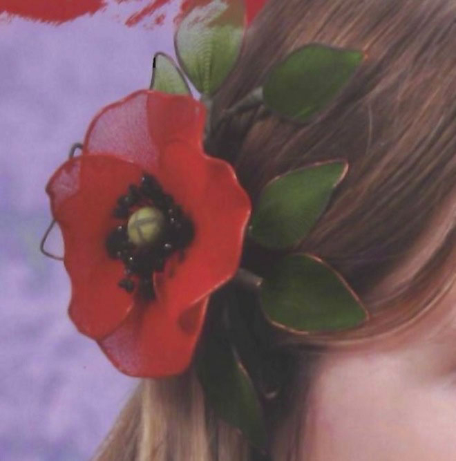 Flower craft ideas making-poppy-hair-accessory-nylon-tights-cute