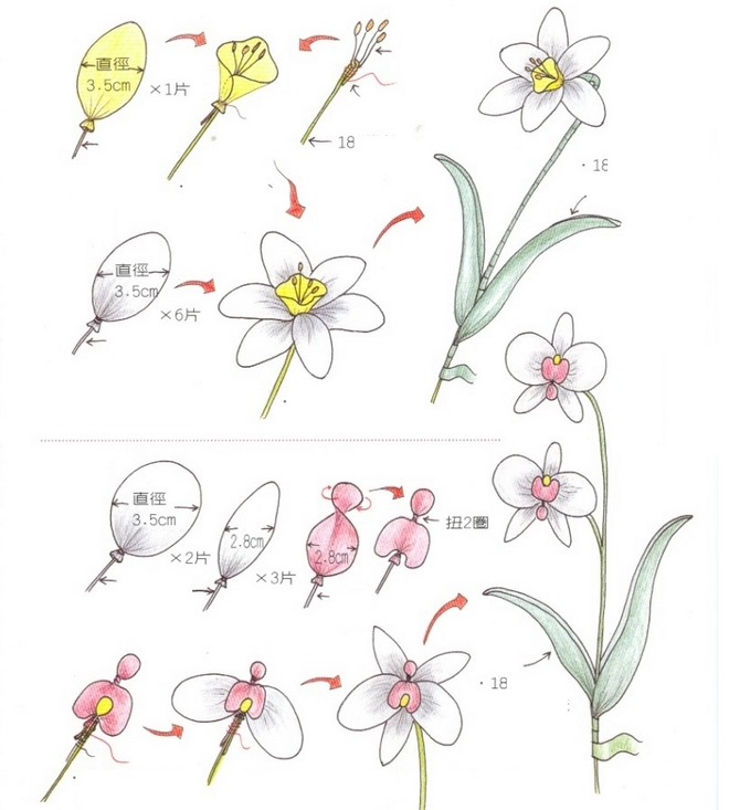 flower-craft-ideas-orchid-daffodil-fake-flowers-drawing