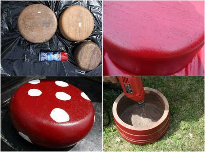 wooden bowls garden decoration diy rustic outdoor mushroom chair