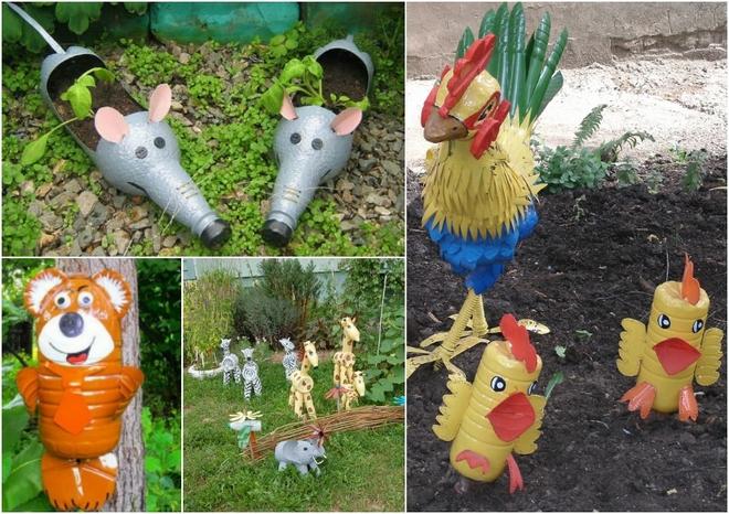 plastic bottles crafts ideas animal figures garden decorations - Garden Decorations