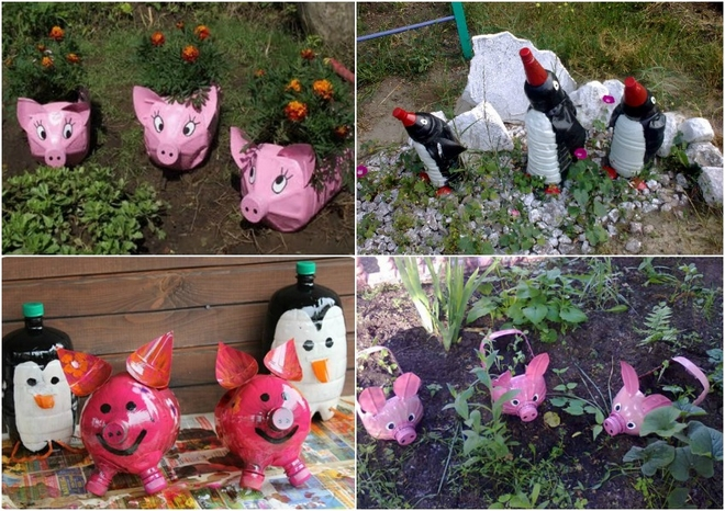 plastic-bottles-crafts-ideas-animals-pigs-penguins