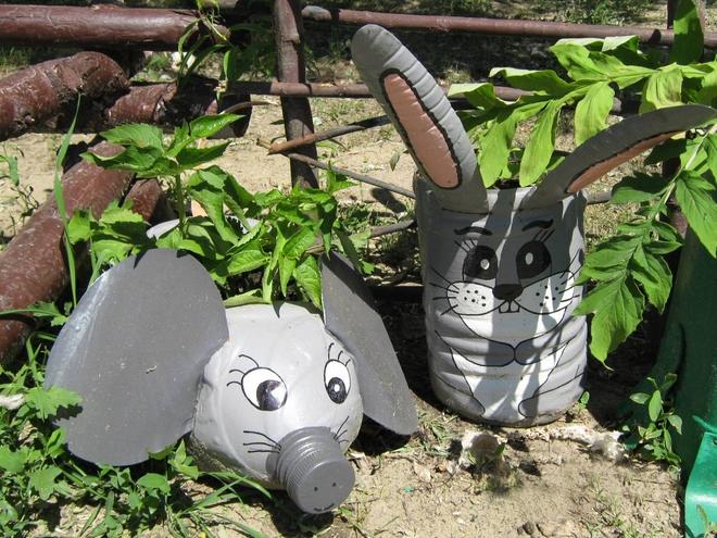 plastic-bottles-crafts-ideas-garden-animals-elephant-rabbit-bunny