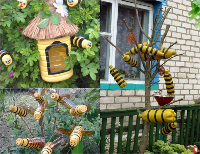plastic-bottles-crafts-ideas-garden-bees-beehive-tree