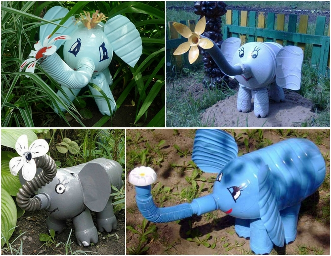 plastic-bottles-crafts-ideas-garden-decor-blue-grey-elephants