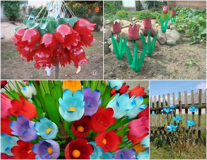 plastic-bottles-crafts-ideas-garden-decorations-flowers-tulips