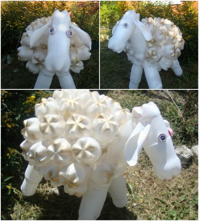 plastic-bottles-crafts-ideas-garden-white-sheep-figure