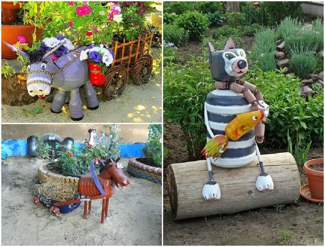 plastic-bottles-crafts-ideas-home-farm-animals-horse-cat