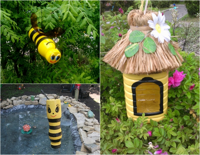 plastic-bottles-crafts-ideas-honeybees-garden-decorations