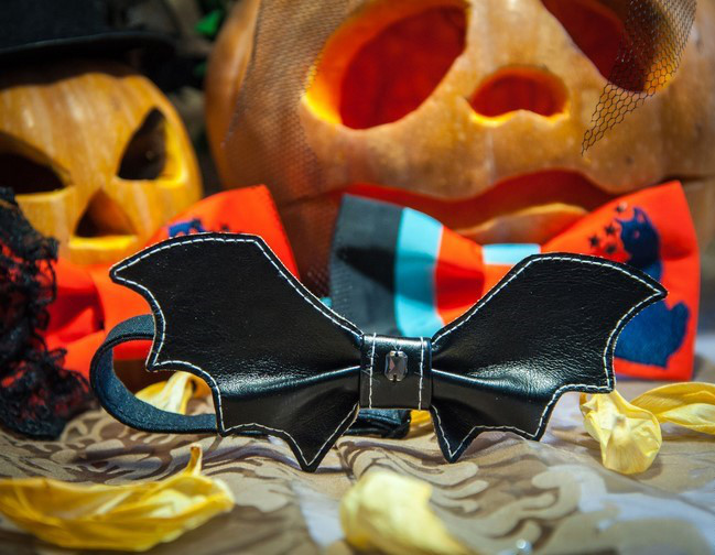 diy halloween costumes jack o lantern pumpkin decoration leather bat bow tie