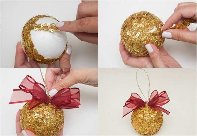 easy christmas crafts how to make gold tree ball sequin yarn idea