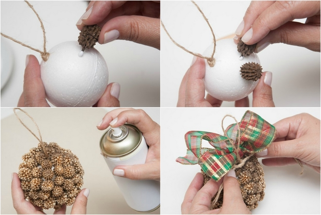 easy christmas crafts styrofoam ball pinecones gold spray decoration diy