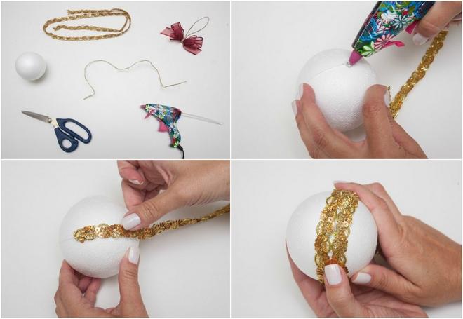 sequin trim christmas tree ball decoration handmade diy tutorial