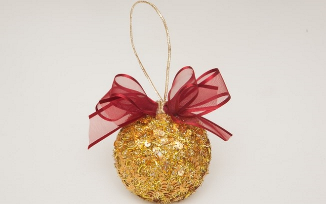 unique christmas tree ornaments styrofoam ball gold sequin yarn style