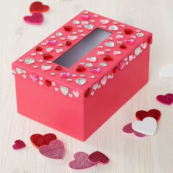 valentine boxes diy red hearts gems decoration