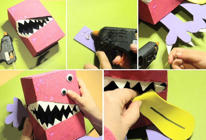 diy valentines day box for boy big teeth monster tutorial