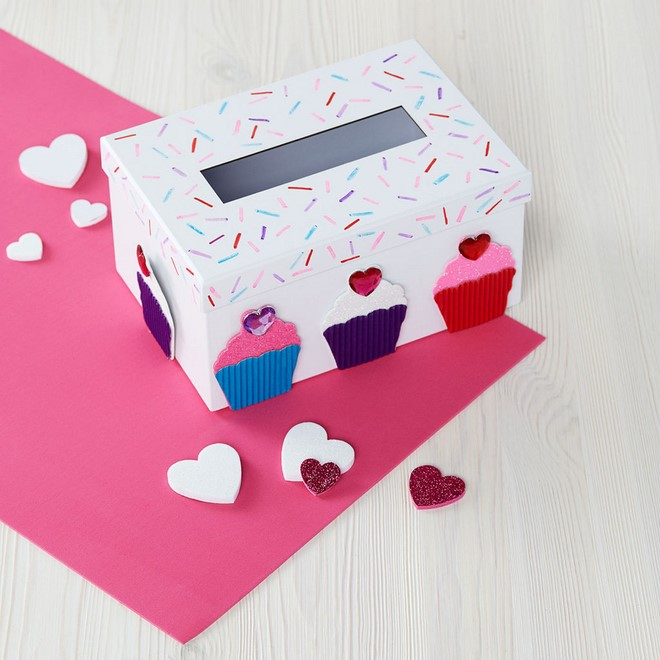 3d Cupcake Decoration Diy Valentines Boxes Shoebox Idea